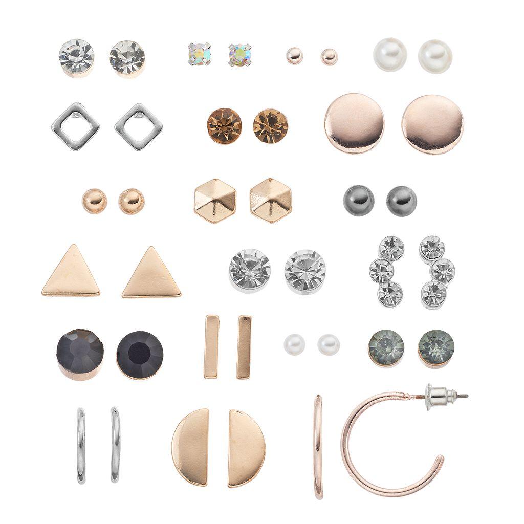 Mudd® Simulated Crystal & Geometric Nickel Free Earring Set
