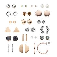 Mudd® Simulated Crystal & Geometric Nickel Free Earring Set