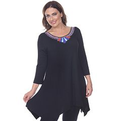 Plus Size White Mark Beaded Handkerchief-Hem Tunic