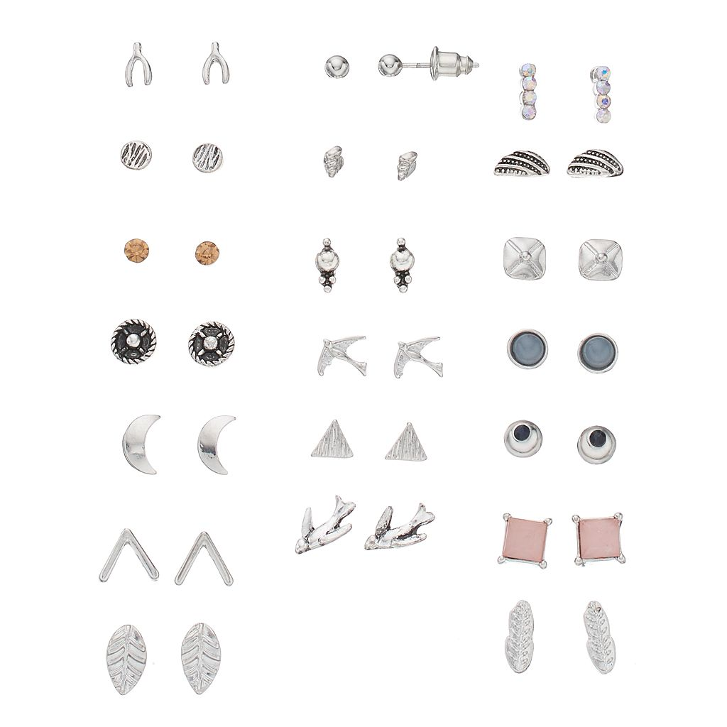 Mudd® Bird, Wishbone & Crescent Nickel Free Stud Earring Set