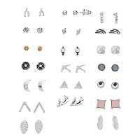 Mudd® Bird, Wishbone & Crescent Nickel Free Stud Earring Set