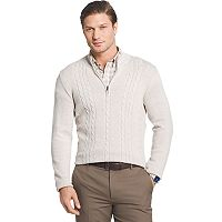 Men's Van Heusen Regular-Fit Cable-Knit Quarter-Zip Sweater