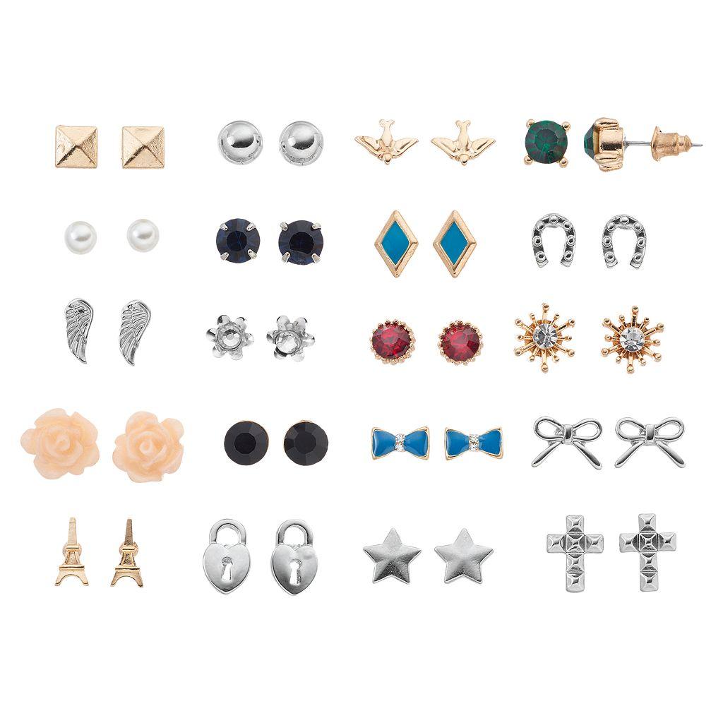 Mudd® Eiffel Tower, Cross & Flower Nickel Free Stud Earring Set