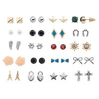 Mudd® Eiffel Tower, Cross & Flower Nickel Free Stud Earring Set