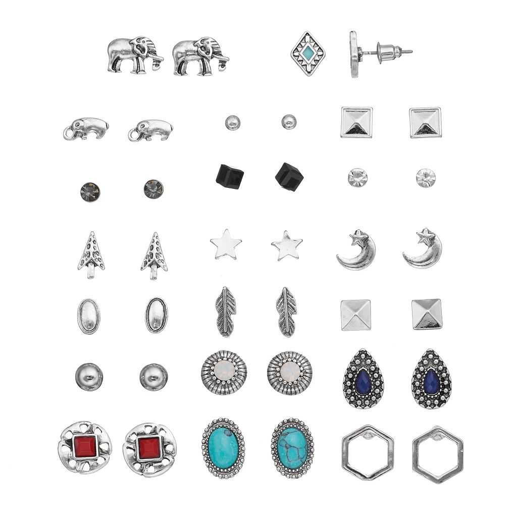 Mudd® Elephant, Star, Feather & Simulated Turquoise Nickel Free Stud Earring Set