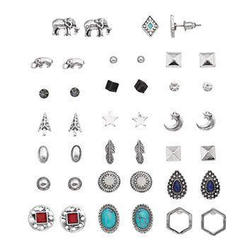 Mudd® Elephant, Star, Feather & Simulated Turquoise Nickel Free Stud Earring Set