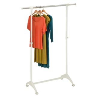 Honey-Can-Do Adjustable Rolling Garment Rack with Extension Arms