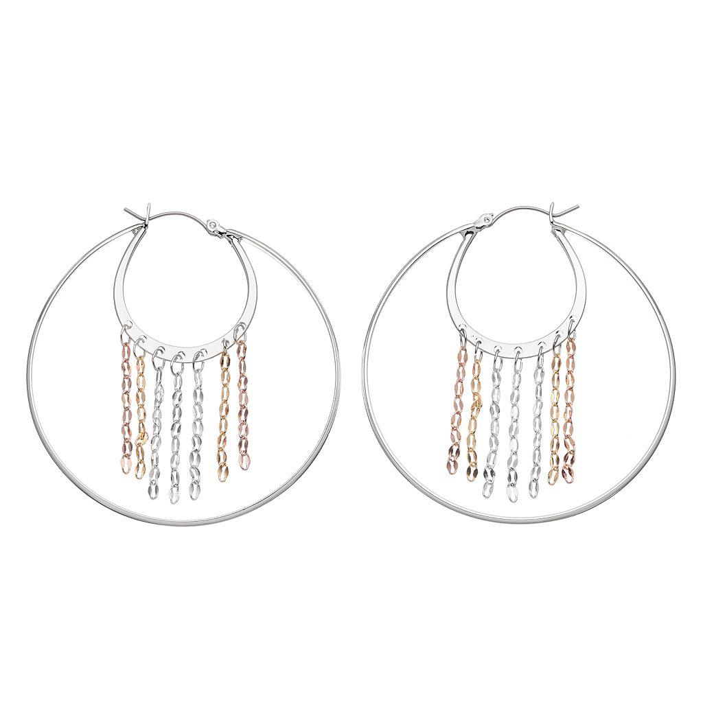 Jennifer Lopez Tri Tone Fringe Nickel Free Double Hoop Earrings