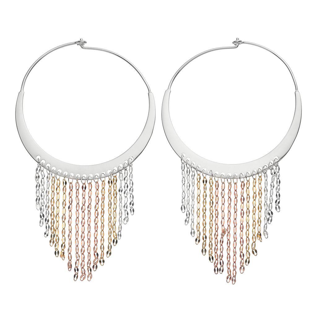 Jennifer Lopez Tri Tone Fringe Nickel Free Hoop Earrings