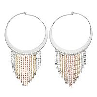 Jennifer Lopez Tri Tone Fringe Nickel Free Hoop Earrings
