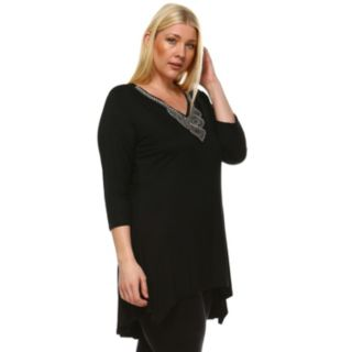 Plus Size White Mark Beaded High-Low Hem Tunic