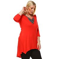 Plus Size White Mark Beaded High-Low Hem Tunic