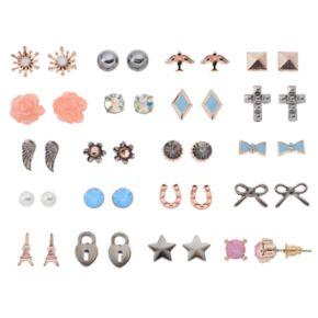 Mudd® Eiffel Tower, Cross & Bird Nickel Free Stud Earring Set