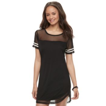 Juniors' Almost Famous Stripe Mesh T-Shirt Dress