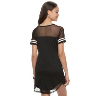Juniors' Almost Famous Stripe Mesh T-Shirt Dress
