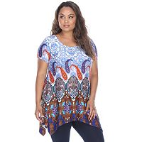 Plus Size White Mark Paisley Sharkbite-Hem Tunic