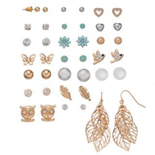 Mudd® Butterfly, Bird, Owl & Leaf Nickel Free Earring Set