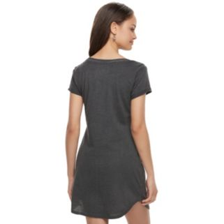 Juniors' Almost Famous Lace-Up Graphic T-Shirt Dress