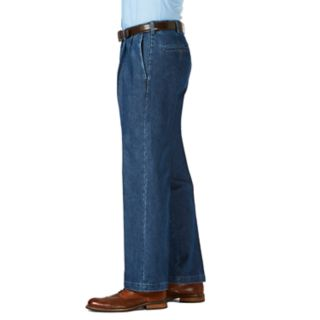 Men's Haggar Classic-Fit Stretch Expandable-Waist Pleated Jeans