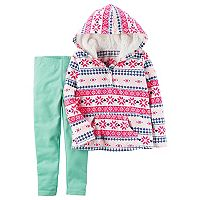 Girls 4-8 Carter's Pink Fairisle Hoodie & Leggings Set