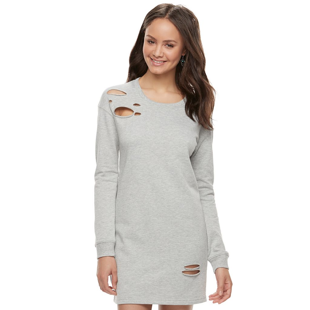 Juniors' Almost Famous Ripped Shift Dress
