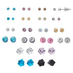 Mudd® Simulated Crystal & Cube Nickel Free Stud Earring Set