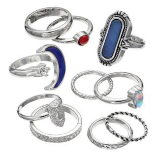 Mudd® Textured, Owl & Moon Mood Ring Set
