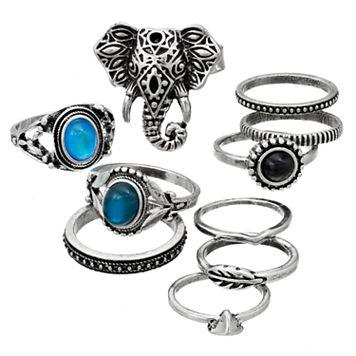 Mudd® Elephant Ring & Leaf Midi Ring Set