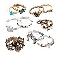 Mudd® Two Tone Leaf, Owl & Cabochon Ring Set
