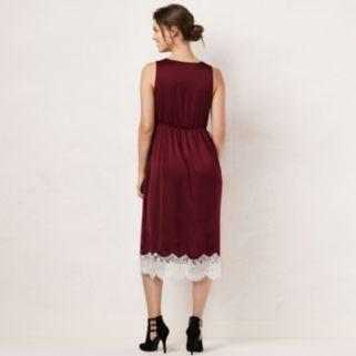 Women's LC Lauren Conrad Faux-Wrap Lace Hem Dress