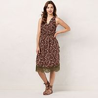 Women's LC Lauren Conrad Faux-Wrap Lace Hem Dress