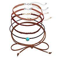 Mudd® Tie On, Simulated Turquoise & Velvet Choker Necklace Set