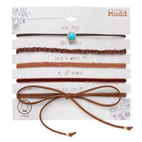 Mudd® Tie On, Simulated Turquoise & Velvet Choker Necklace Set
