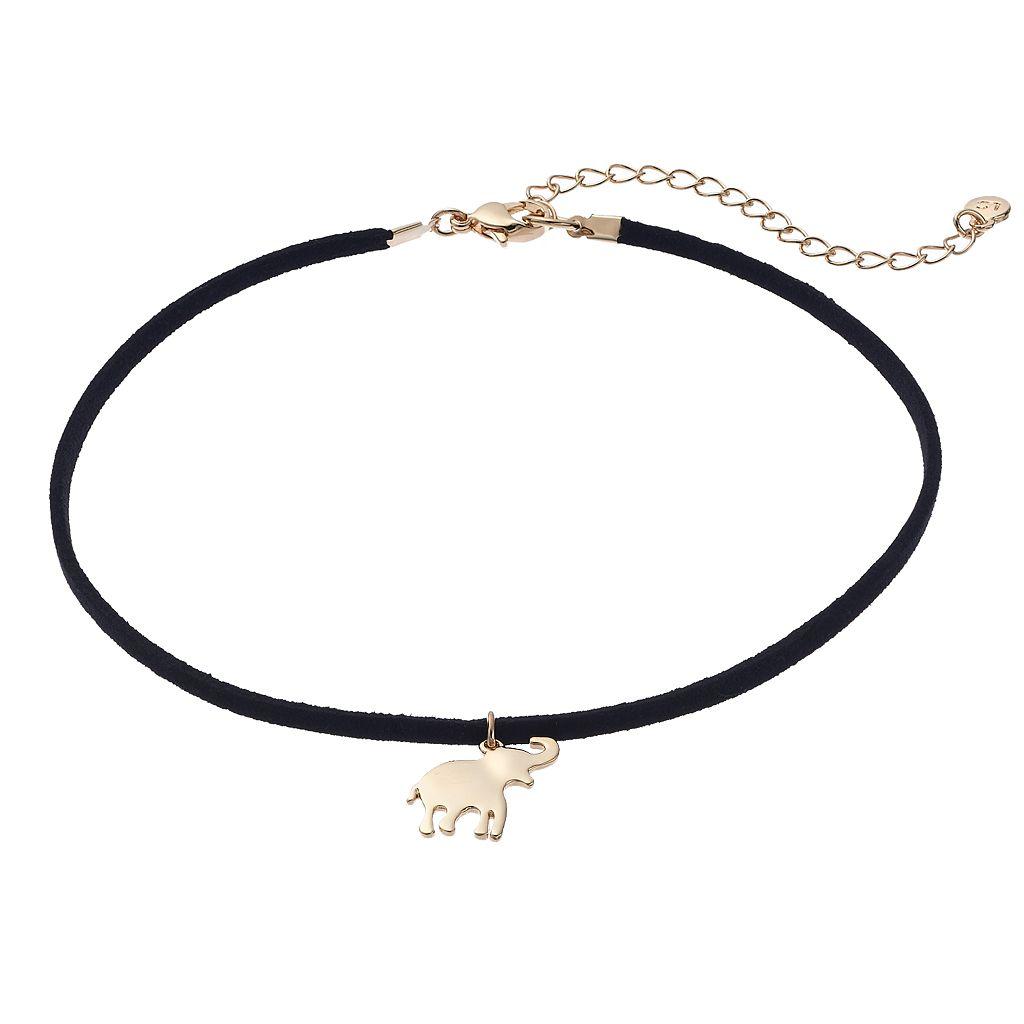 LC Lauren Conrad Elephant Faux Suede Choker Necklace