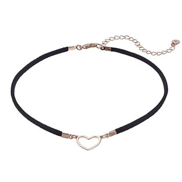 LC Lauren Conrad Heart Faux Suede Choker Necklace
