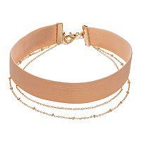 LC Lauren Conrad Multi Strand Pink Stretch Choker Necklace