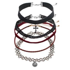 Mudd® Cross, Sequin, Red Velvet & Tattoo Choker Necklace Set
