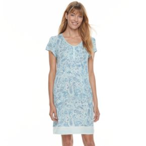 Women's Croft & Barrow® Pajamas: Vineyard Villa Short Sleeve Nightgown