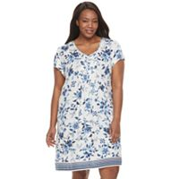 Plus Size Croft & Barrow® Pajamas: Vineyard Villa Short Sleeve Nightgown