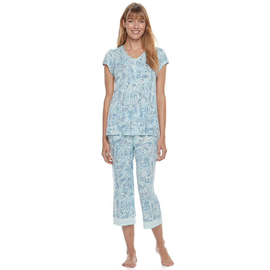 Women's Croft & Barrow® Pajamas: Vineyard Villa Short Sleeve Top & Capris PJ Set