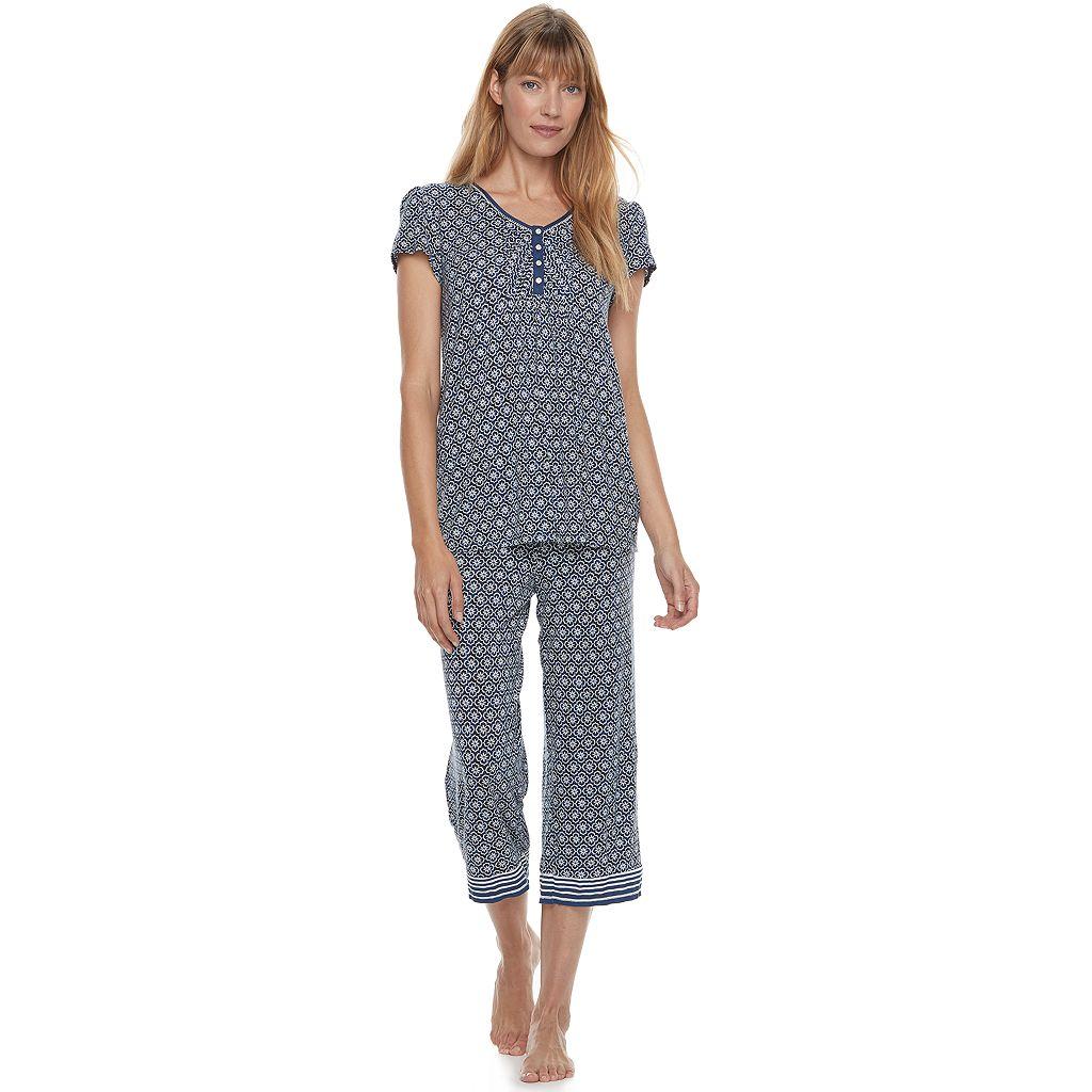Women's Croft & Barrow® Pajamas: Vineyard Villa Short Sleeve Top & Capris PJ Set