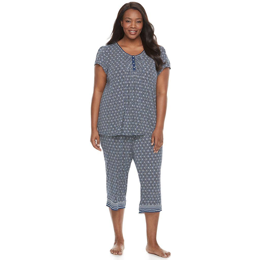 Plus Size Croft & Barrow® Pajamas: Vineyard Villa Short Sleeve Top & Capris PJ Set