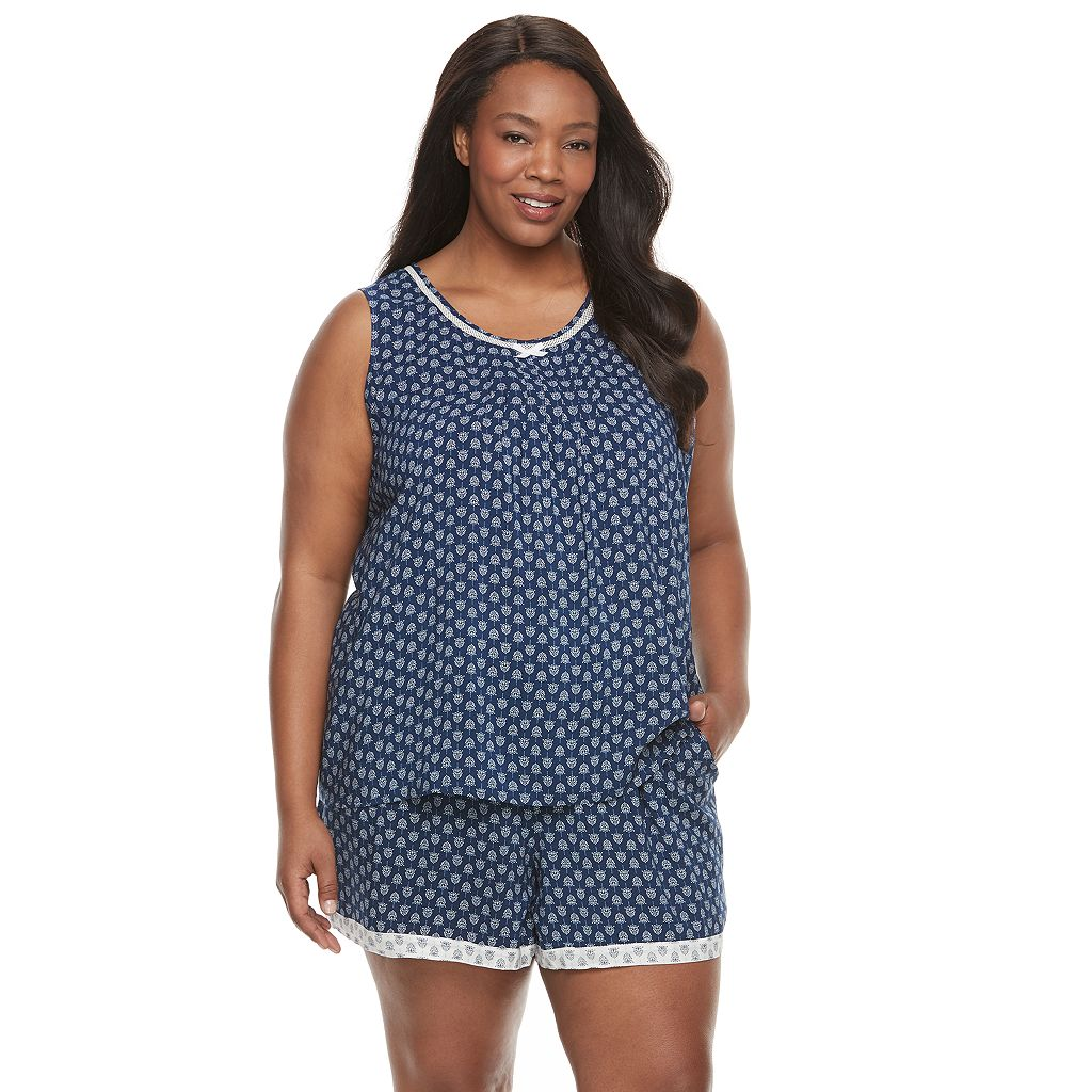 Plus Size Croft & Barrow® Pajamas: Vineyard Villa Tank & Boxer Shorts PJ Set