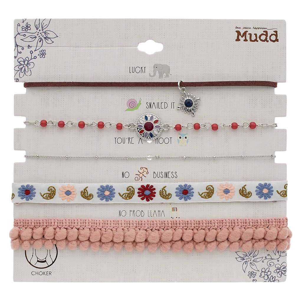 Flower, Embroidered & Pom Pom Choker Necklace Set