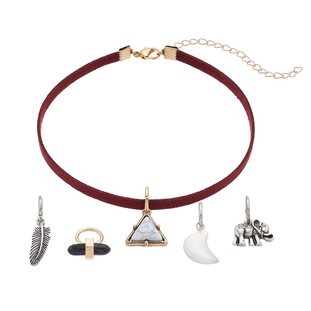 Elephant, Triangle, Crescent & Feather Charm Choker Necklace Set