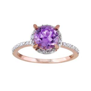 Stella Grace 10k Rose Gold Amethyst & Diamond Accent Halo Ring