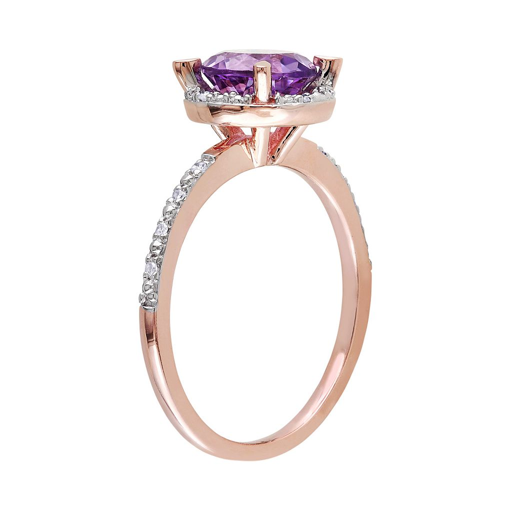 10k Rose Gold Amethyst & Diamond Accent Halo Ring