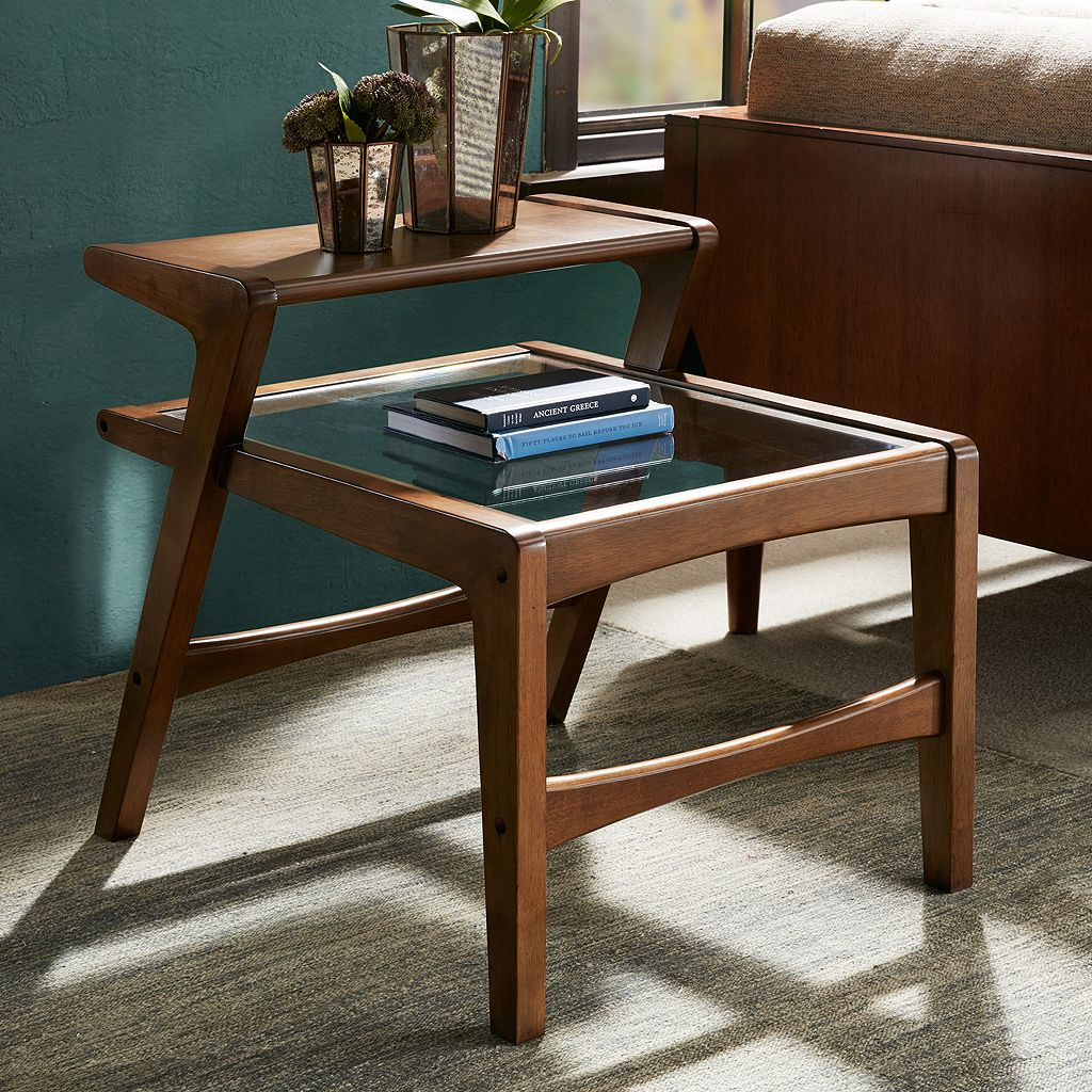 INK+IVY Rocket 2-Tier Glass Top End Table