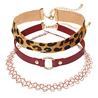 Leopard Faux Fur, Tattoo & Faux Leather Choker Necklace Set