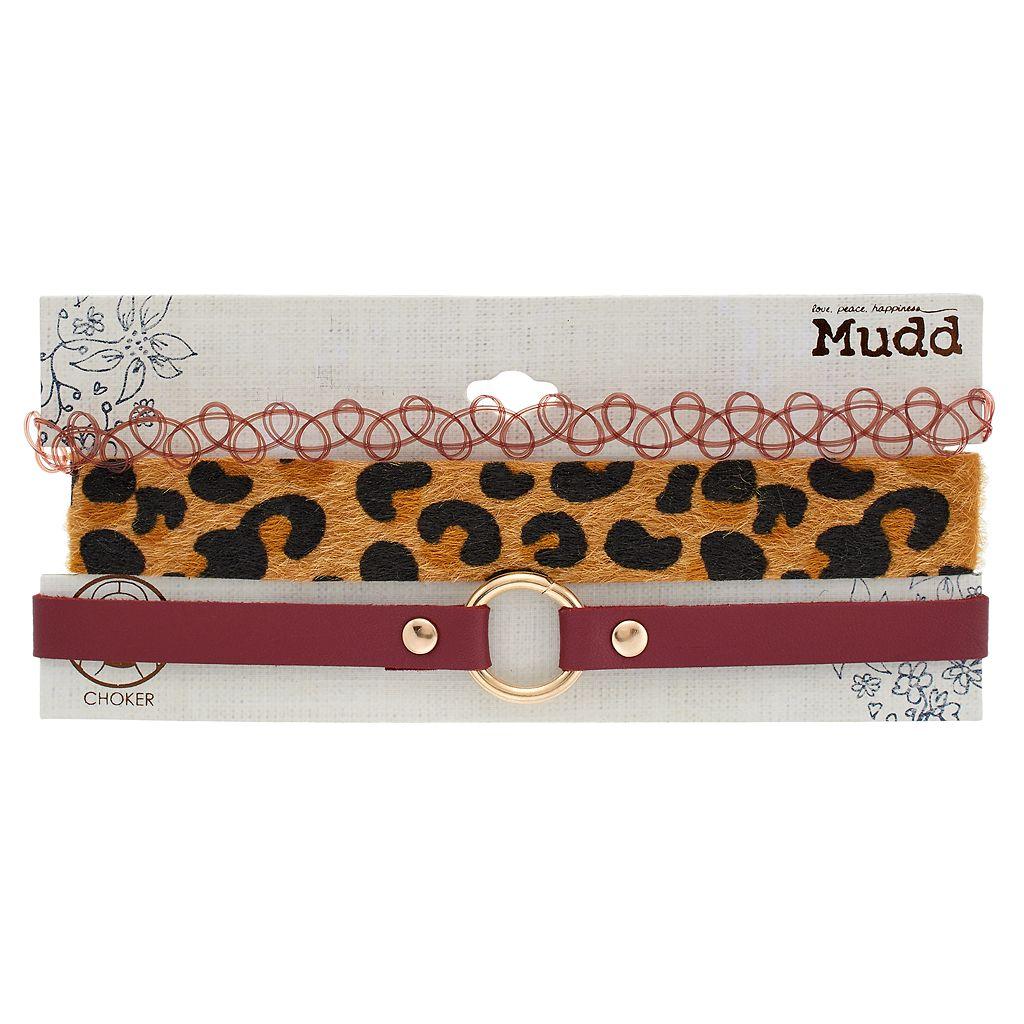 Leopard Faux Fur, Tattoo & Faux Leather Choker Necklace Set